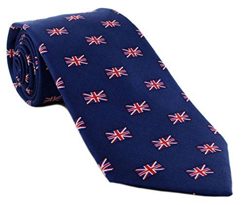 Marine / Rot / Weiß Klein Union Jack Alles über Muster Silk Krawatte von Michelsons of London