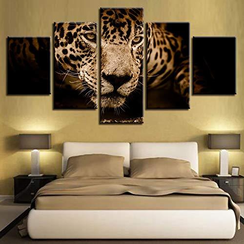 lsweia Holzrahmen/HD Druck Poster Modulare Leinwandbilder Wandkunst 5 Stücke Tiere Leopard Gemälde Decor Modern Home Wohnzimmer