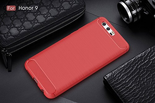 EKINHUI Case Cover Brushed Carbon Fibre Robuste Rüstung Stoßstange Fall Schock Absorbtion Drop Resistance Shell Back Cover für Huawei Hornor 9 ( Color : Gray ) Red