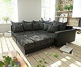 DELIFE Couch Clovis modular - Ecksofa, Sofa, Wohnlandschaft & Modulsofa (Schwarz/Schwarz, Ecksofa Rechts mit Hocker + Armlehne)