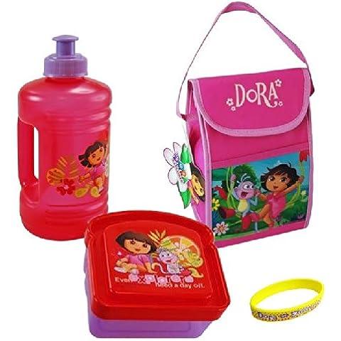 Dora Lunch Bag Insulated, Sandwich Box, Water Bottle & Bracelet - 4 Item Bundle by UltimateGifts - Dora Lunch Bag
