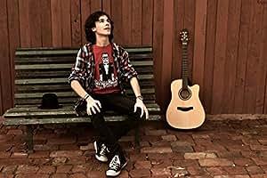 Posterhouzz Music Guitar Sky Boy Man Bench Wall Poster_** MUZ5098