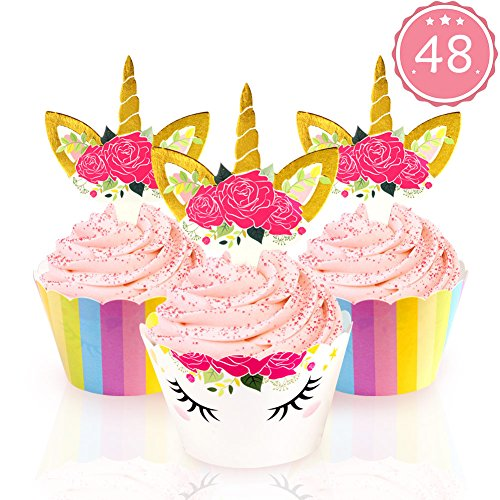 AerWo 48 pack Unicorn Cupcake Toppers et Wrappers décorations de gâteau à double face pour les anniversaires