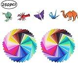 Manualidades de Origami con Papel Para Niños, 250 hojas 50 Colores Vivos Doble cara...