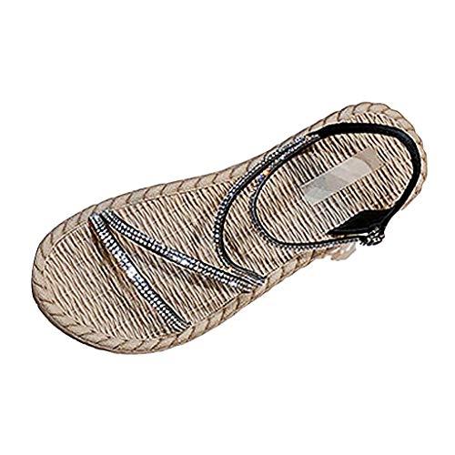 Kostüm Gestreifte Mikrofaser - TMOTYE Freizeit Urlaub Damen Sommer Sandalen 2019 Sommer Flip Flops Bohemian Flach Zehentrenner mit Strass