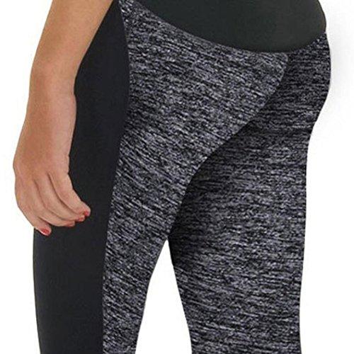 Ineternet Femmes Sport Pantalons Athlétique d'entraînement Fitness Yoga Leggings Pantalons de Gymnastique Gris