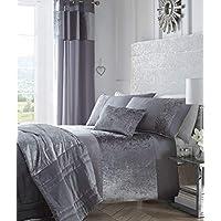 Boulevard Velvet Strip Quilt Duvet Cover and 2 Pillowcase Bed Set, Polyester, Grey, King