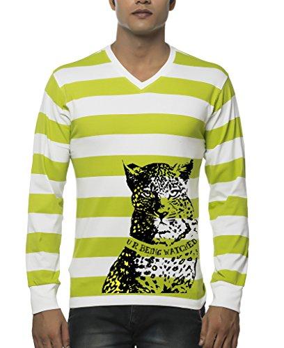Clifton Mens Printed Bold Stripe Ribbed T-Shirt V Neck Full Sleeve-Parrot Green-Cheeta-9XL