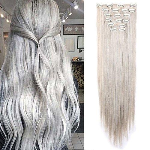 Extension capelli clip sintetici lisci parrucca donna clips in hair extensions 8 fasce 140g full head 65cm (biondo cenere mix grigio argento)