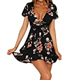 TWIFER Damen Bohemian V-Ausschnitt Kleid Blumendruck Kurzarm Mädchen Unregelmäßige Strandkleid