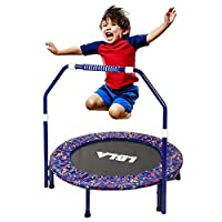 Trampoline, Kids Trampoline Little Trampoline with Adjustable Handrail and Safety Padded Cover Mini Foldable Bungee Rebounder Trampoline Indoor/Outdoor Maximum ø 36inch Weight Capacity 132 lbs