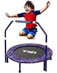 LBLA Trampoline, Kids Trampoline Little Trampoline with Adjustable Handrail and Safety Padded Cover Mini Foldable Bungee Rebounder Trampoline Indoor/Outdoor Maximum ø 36inch Weight Capacity 132 lbs
