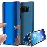 Spiegel Hülle für Samsung Galaxy Note 8,Ekakashop Luxus Blau Mirror Bling Glitzer Durchsichtig SchutzHülle Lederhülle Tasche Klapptasche Etui Magnet mit Standfunktion für Apple Samsung Galaxy Note 8