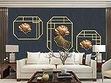 HD Wandbild Wallpaper Wall Art Print Poster neue chinesische 3D Golden Ginkgo verlässt stereoskopische TV Hintergrund Linien-200x140 cm (78,7 von 55,8 in)