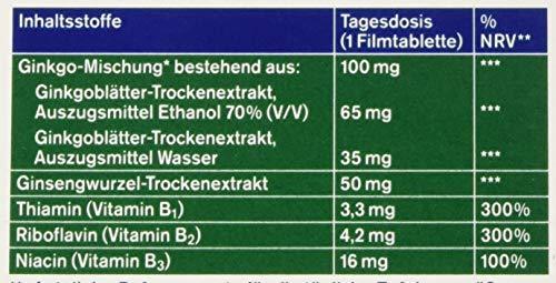 tetesept Ginkgo, Ginseng + B-Vitamine - Nahrungsergänzung zur Unterstützung von Konzentration, geistiger Leistungsfähigkeit & Gedächtnis - 30 Tabletten