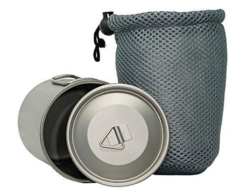 Valtcan 450 ml Titan Camping Tasse mit Deckel 450 ml 15fl oz Klappgriff Abdeckung und Netz-Tragetasche Camping Wandern Kaffee Tasse Bushcraft Tee -