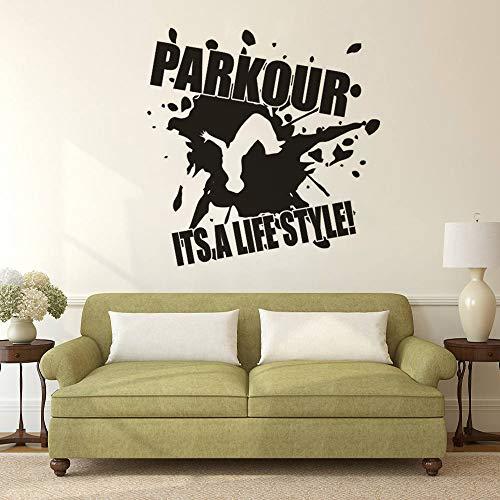 zqyjhkou Vinyl Wandaufkleber Parkour Design Wandtattoo Es ist EIN Lebensstil Zitat Poster Wohnkultur Extreme Street Sport Wandbild Ay1663 57x58 cm