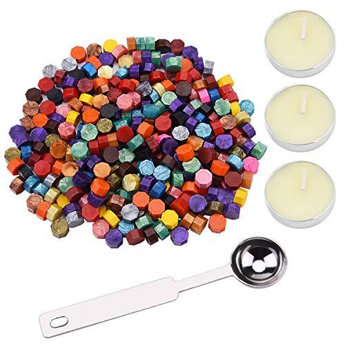 Sunmns 250 Stück achteckige Siegelwachsperlen mit 3 Kerzen und Wachsschmelzlöffel für Wachsstempel, Briefumschläge, Geschenkverpackung, Versiegelung. bunt