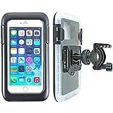 """smart2Bike® Fahrradhalterung / Motorrad-Halterung mit Hard Case (Schutz-Tasche) für Smartphone, Navigator, Handy, uvm. - Display-Diagonale Universal: 5,5"""" (bis 6'') passend zu Apple iPhone 6 Plus, 6S Plus, Samsung Galaxy uvm. Schutzhülle Spritzwasser geschützt! Mit Sicherungsriemen, rückseitigen Gürtelschlaufen und 1/4''-Gewinde!"""