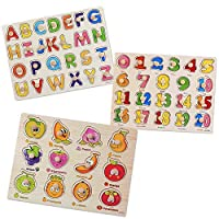 SIMUER 3 Packs Wooden Jigsaw Pegged Puzzle Board Colorful Numbers Alphabet Letters Fruit Puzzle Kids Jigsaw Educational Toys Games
