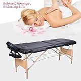 Wellhome 3 Zones pliante Table de Massage léger en bois thérapie Tatoo Salon Reiki Sports stadium Clinic appuie-tête réglables + balustrade + 600D housse de transpo (Blanc)
