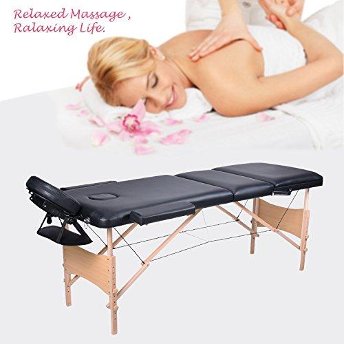 Wellhome 3 zone tavolo da massaggio portatile di legno large xxxl 216 cm tatoo reinserimento massaggio svedese terapista + poggiatesta regolabili + pvc corrimano + 600d portare la borsa (nero)