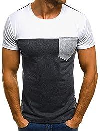 Blouse de Poche Homme Muscle T-Shirt Slim Décontracté à Manches Courtes  Patchwork ... 1565485b83a0
