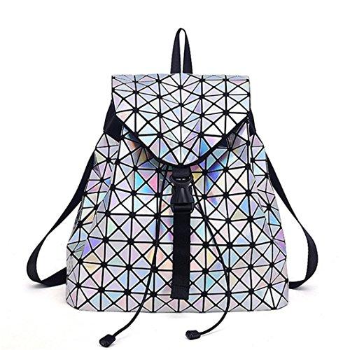 Frauen Rucksack Leuchtende Geometrische Plaid Pailletten Weibliche Rucksäcke Mädchen Holographische Rucksack Laser Silver