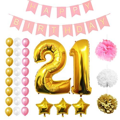 Luftballons u. Dekoration zum 21. Geburtstag von Belle Vous - 32-tlg. Set - Großer 21 Jahre Luftballon - 30,5cm Gold, Weiße u. Rosa Dekorative Latexballons - Dekor für Erwachsene (Rosa Und Weißen Strand Bälle)