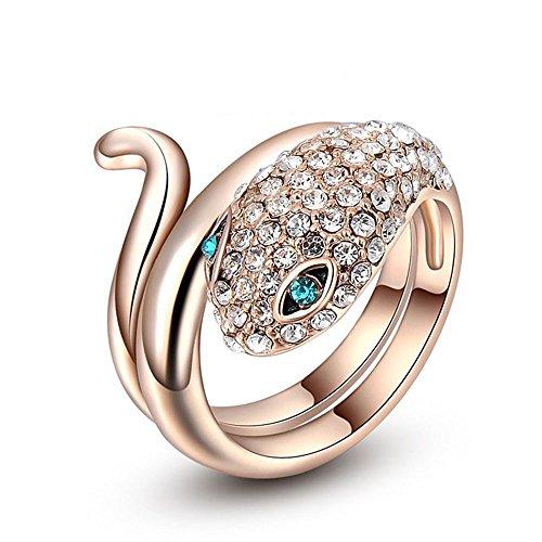 Seecloud placcato oro rosa serpente anello alla moda per donne con cristalli swarovski e ottone placcato oro, 17