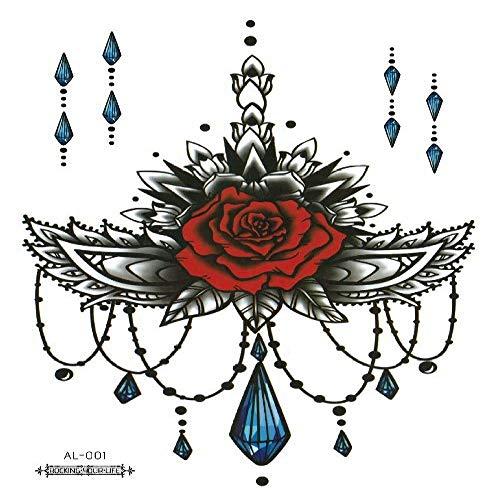Clng-tool (Umweltschutz wasserdichte Blume Arm Tattoo Aufkleber Arm Brust Kaiserschnitt Concealer Narbe Tattoo Aufkleber 3Pcs-1 Blume Arm 210 * 150mm)