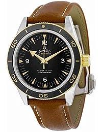 Omega Seamaster Negro Dial Brown Cuero Automático Mens Reloj 233.22.41.21.01.001
