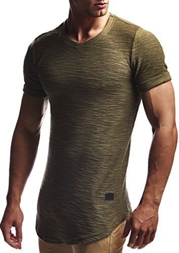 LEIF NELSON Herren Sommer T-Shirt Rundhals-Ausschnitt Slim Fit Baumwolle-Anteil | Moderner Männer T-Shirt Crew Neck Hoodie-Sweatshirt Kurzarm lang | LN6324 Khaki L