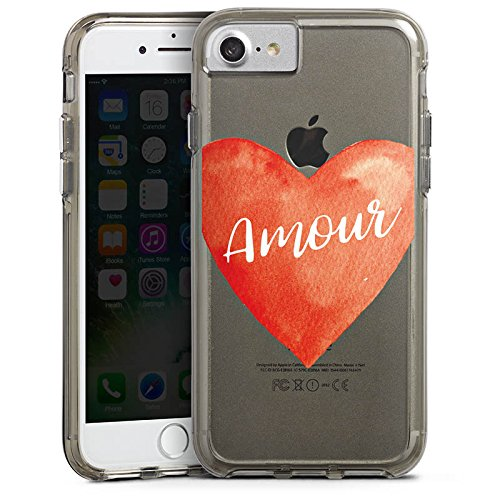 Apple iPhone 6 Plus Bumper Hülle Bumper Case Glitzer Hülle Amour Liebe Herz Bumper Case transparent grau