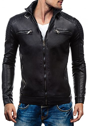 BOLF - Veste - Faux cuir - Fermeture éclair – EXTREME EX305 – Homme Noir
