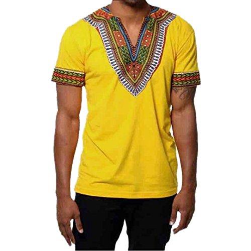 OVERDOSE Mode Männer Slim Fit V-Ausschnitt Afrikanischen Gedruckt Muskel T-Shirt...