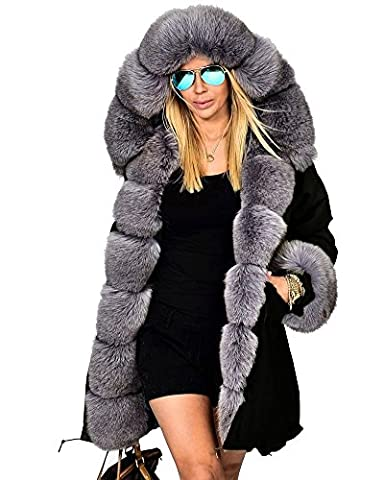 Roiii Hiver Lady Femmes veste parka épaississent longueur capuche manteau