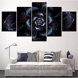 Flor Negra. Pintura ideal para decorar tu salón. Lienzo de fractales en el arte.