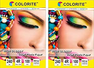 """Colorite 240 Gsm 4R (4""""x6"""") /100 Sheets x 2 PACK COMBO Inkjet High Glossy Photo Paper (TOTAL 200 sheets)"""