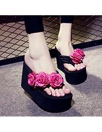 Der Sommer kommt. Hausschuhe Frauen Mode rutschhemmend Plattformen High Heel Flip-Flops Neue handgearbeitete Blumen Strand Flip Flop Sandalen und Hausschuhe Hausschuhe zu klein sind ist es empfehlenswert einen groszlig;en Hof zu nehmen das Fett Seite de