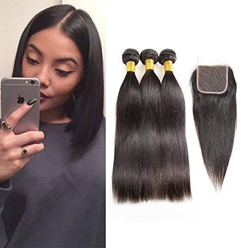 Huarisi Brazilian Hair 8a Straight 3 Bundles with Closure Free Part Human Virgin Hair Weaves 4x4 Medium Brown Swiss Lace Closures Hair Extensions Short Length 12 14 16 + 10 inches