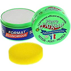 Pierre d'Argent format 500g, parfum citron, nettoyant ménager multi-usage, éponge incluse, fabriqué en France, certifié ECOCERT