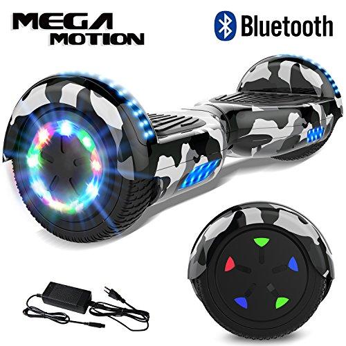 Mega Motion 6.5Pulgadas Hoverboard E-Shine-2018 Scooter Eléctrico Self-Balance E-Skateboard Certificado UL 2272 LED-Ruedas y Luz LED-Altavoz Bluetooth