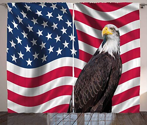 ABAKUHAUS Adler Rustikaler Gardine, Patriotisches Symbol Amerika, Schlafzimmer Kräuselband Vorhang mit Schlaufen und Haken, 280 x 260 cm, Mehrfarbig