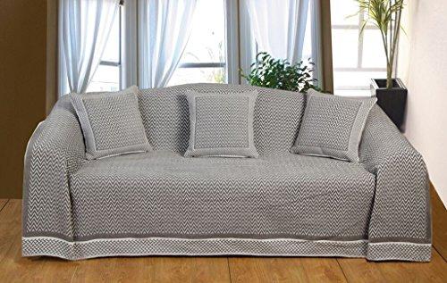 K Living 70 x 100 cm, 60 pourcent Polyester 40 Flamestitch/Couvre-Lit en Coton Gris/Blanc