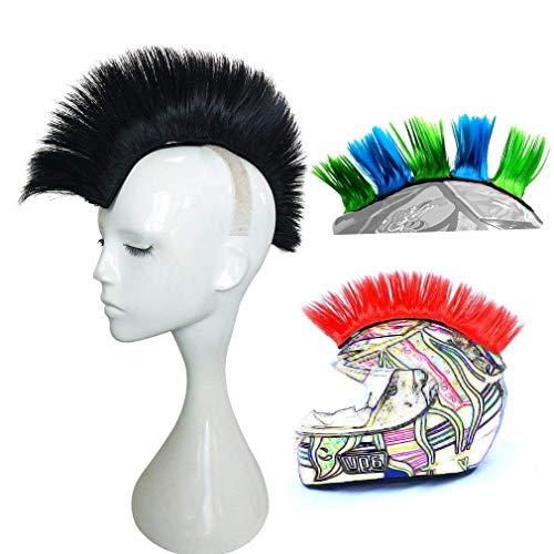 3T-SISTER Helm Mohawk Perücke Motorrad Kleber Mohawk Haar Patches Skinhead Kostüme Perücke, ()