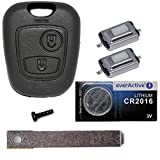 Auto Schlüssel Funk Fernbedienung 1x Gehäuse + 1x Rohling VA2 + 2X Mikrotaster + 1x CR2016 Batterie für Citroen/Peugeot / Toyota