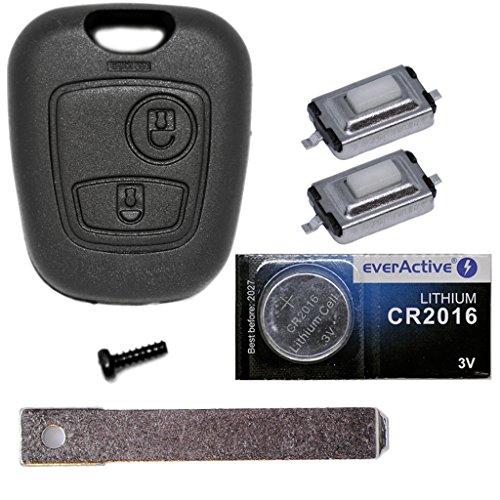 Auto chiave telecomando 1X gomma + 1X Vergine VA2+ 2X mikrotaster + 1X Cr2016Batteria per Citroen/Peugeot/Toyota