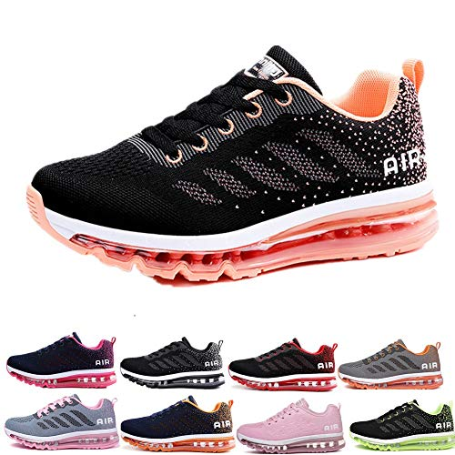 Uomo Donna Air Scarpe da Ginnastica Corsa Sportive Fitness Running Sneakers Basse Interior Casual all'Aperto Black Orange 41 EU