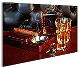 islandburner Bild Bilder auf Leinwand Zigarre V3 Whiskey Cocktails Bar Drinks 1p XXL Poster Leinwandbild Wandbild Dekoartikel Wohnzimmer Marke